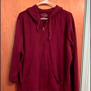 Women's extra-large full zipper with hood jacket
